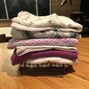 Lot of 7 baby and swaddle blankets